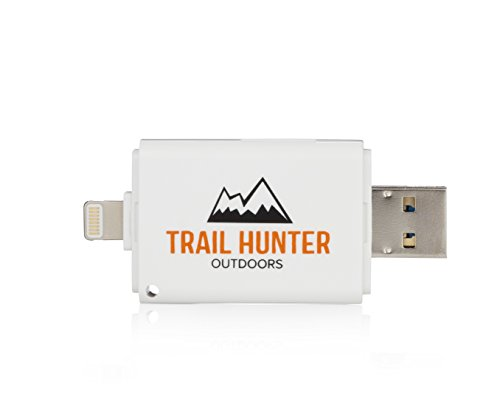 Trail Hunter Outdoors Trail and Game Camera SD Card Reader Viewer for iPhone, iPad and Android Devices | Free Lightning Connector Extender Included | Perfect for Hunting Gear