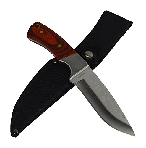 Rogue River Tactical The Deer Hunter Fixed Blade Hunting Knife Full Tang Wood Handle Skinning Skinner With Sheath