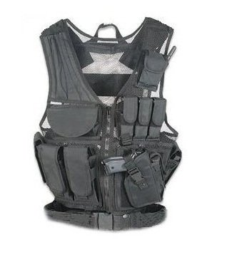 UAG Stealth Black Lightweight Edition Tactical Scenario Military-Hunting Assault Vest w/ Right Handed Quick Draw Pistol Holster