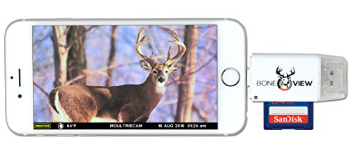 BoneView Trail Camera Viewer for Apple iPhone & iPad, View Photos and Videos from any Wildlife Scouting Game Cam on Smartphone, SD & Micro SD Memory Card Reader for Deer Hunters