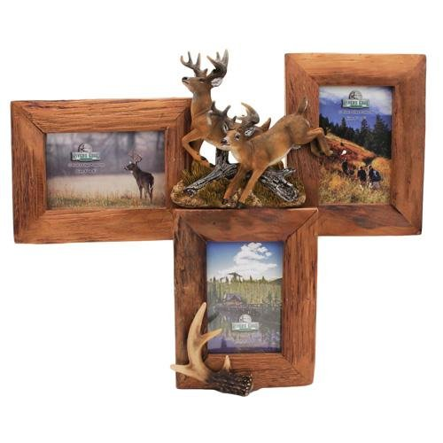 River's Edge 3 Picture Deer Firwood Root Frame