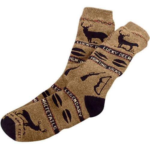 Legendary Whitetails Lucky Deer Hunting Socks Brown One Size