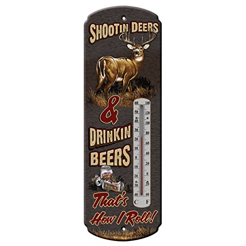 Rivers Edge Products Shootin Deers and Drinkin Beers Buckwear Tin Thermometer