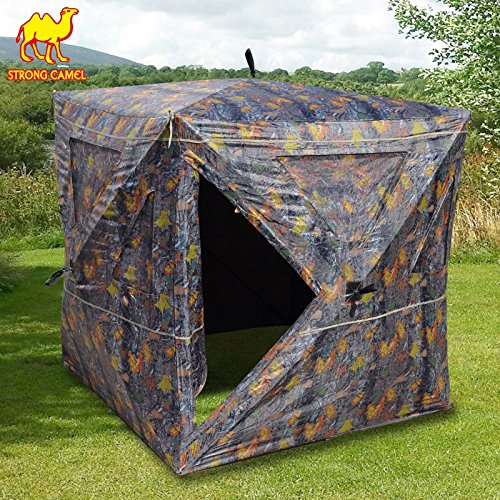 Strong Camel 2-3 Person Camouflage Hunting Blind Ground Deer Archery Outhouse Camo Hunting Shooting Bowhunting Tent