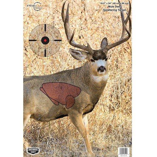 Birchwood Casey Pregame Mule Deer Target (Pack of 3), 16.5 x 24-Inch, Black