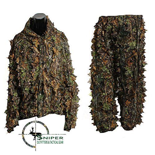 Sniper Outfitters XL Ghillie Suits 3D Leafy Camo Suit for Hunting. Ghillie Suit for Men Camouflage Army Military Clothing and Camo Hunting Suit, Excellent for Deer, Elk, Bird and Turkey Hunting.