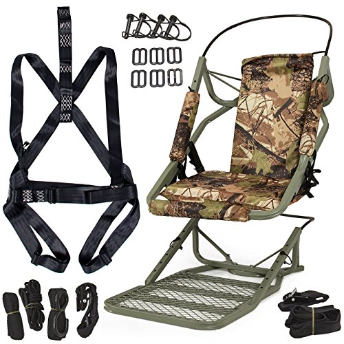ARKSEN Deluxe Portable Hunting Tree Stand Climber Deer Rifle Bow Game Hunt Outdoor + Body Pack Strap Set
